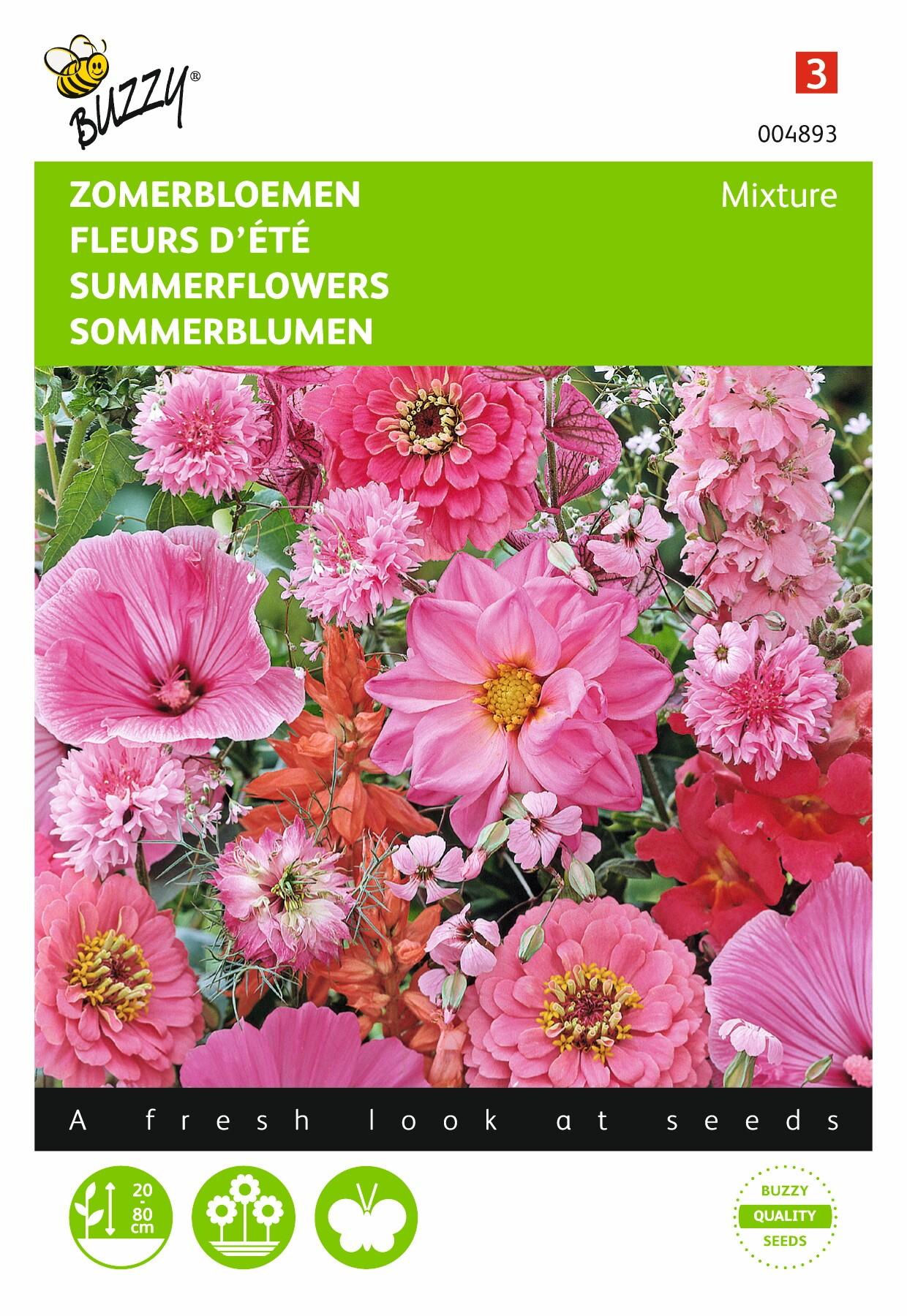 Zomerbloemen rood/rose tinten