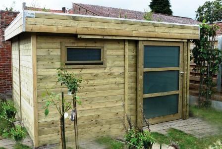 Modern tuinhuis met plat dak